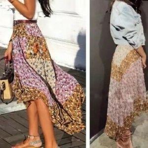 Zara Floral Patchwork Hi-Lo Flowy Boho Gypsy Skirt